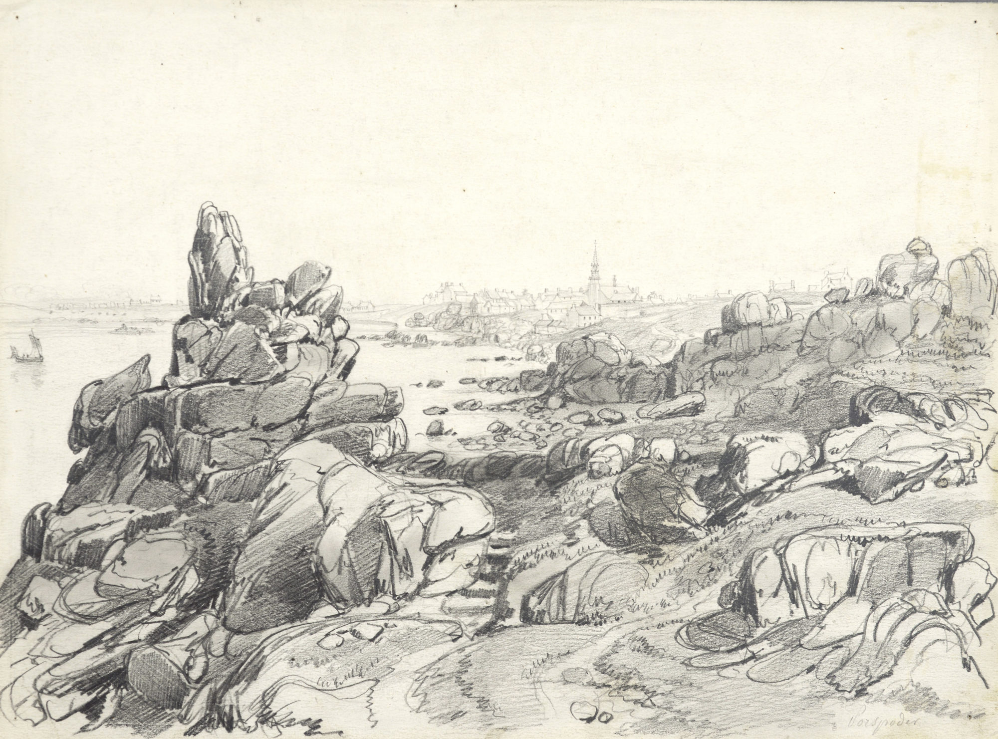 Le Phare de Ploumanac'h et les 7 îles, dessin à la mine de plomb sur papier vélin gris, H. 23,6 ; L. 31,8, © Collection musée d'art et d'histoire, Ville de Saint-Brieuc