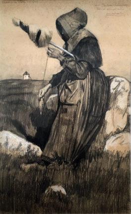 Fileuse à la Poterie, 1900-1904, crayon noir, rehauts, musée Mathurin Méheut, © ADAGP, Paris, 2020