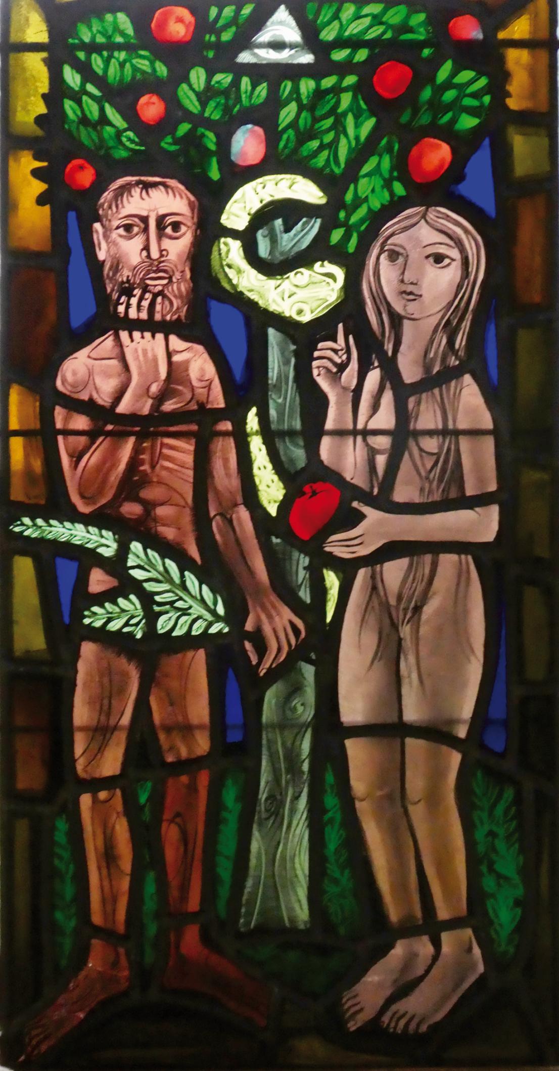 Pierre Toulhoat (1923-2014), vitrail Adam et Eve